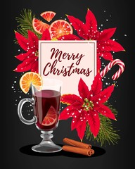 Winter card with mulled wine