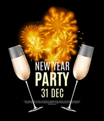 Happy New Year Party 31 December Poster Vector Illustration