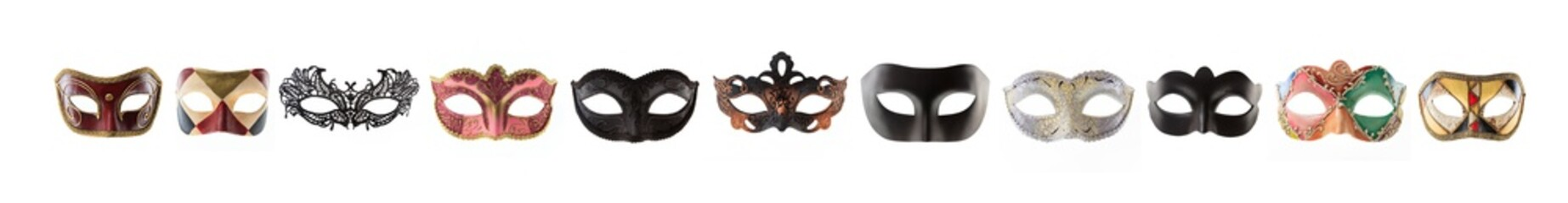 Fotorolgordijn Carnaval Carnival masks collage isolated on white background