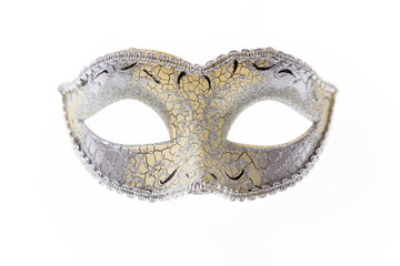 Silver Venetian carnival mask isolated on white background