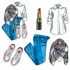 Lady fashion set of autumn, winter season outfit. Illustration stylish and trendy clothing. Jeans, boots,scarf, sweater, bag.