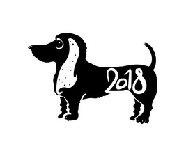 Year of the Dog 2018. Stamp for New Year's design. Vector template. New Year on the Chinese calendar.