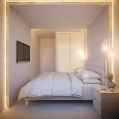 3d illustration of an interior design of a white minimalist bedroom. Scandinavian interior design style.