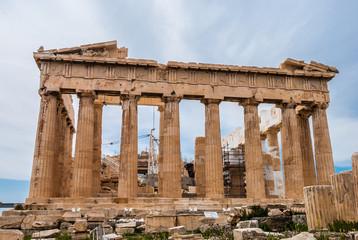 Facade of Parthenon temple in Acropolis hill in Athens, Greece