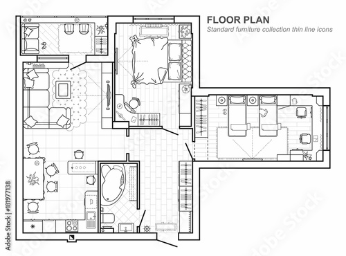 Floor plan with furniture in top view architectural set of floor plan with furniture in top view architectural set of furniture thin line icons malvernweather Choice Image