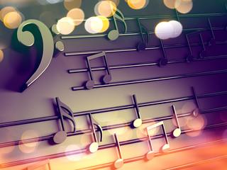 Fondo musical 3d.Partitura y notas musicales.Concepto de canciones y melodia.Villancicos de Navidad.Clave de Fa