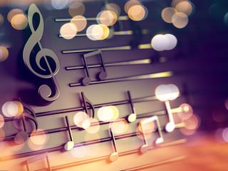 Fondo musical 3d.Partitura y notas musicales.Concepto de canciones y melodia.Villancicos de Navidad.Clave de Sol