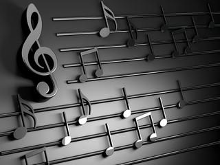 Fondo musical 3d.Partitura y notas musicales.Concepto de canciones y melodia.Clave Sol