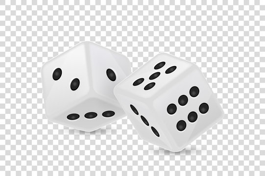 Vector illustration of white realistic game dice icon in flight closeup isolated on transparency grid background. Casino gambling design template for app, web, infographics, advertising, mock up etc