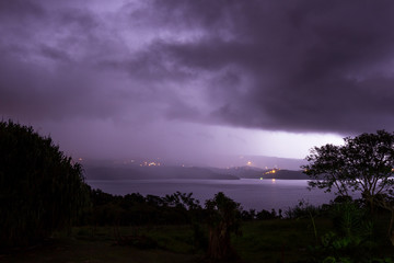lighting, storm over the lake