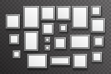 Photo Picture Gallery Paper Big Little Realistic Icon Set Template Transparent Wall Background Mock Up Design Vector Illustration