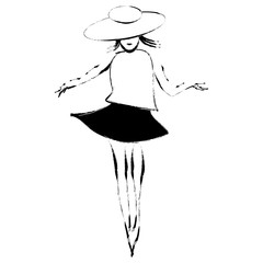 A woman wears a stylish hat in a minimalist fashion and beauty illustration.