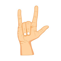 Horns hand, satan sign finger up gesture. Vector isolated on white background. Realistic cartoon illustration.
