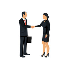 Meet business partners, stylish man in suit, woman. Handshake men and women. Business people male and businesswomen. Vector illustration flat design. Isolated on background. Symbol of successful deal.