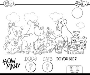 counting dogs and cats game color book