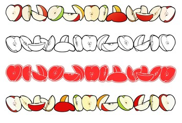 Sliced apples of different kinds in a line for a border design, with variations