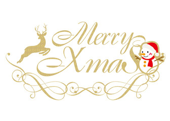 Merry Christmas logo of gold texture | logo mark, logotype | for Christmas promotion|Illustration of reindeer and snowman