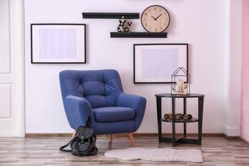 Modern interior with stylish armchair