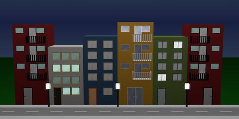 Häuserfront mit bunten Häusern, erleuchteten Fenstern, Straßenlaternen und Straße bei Nacht.
