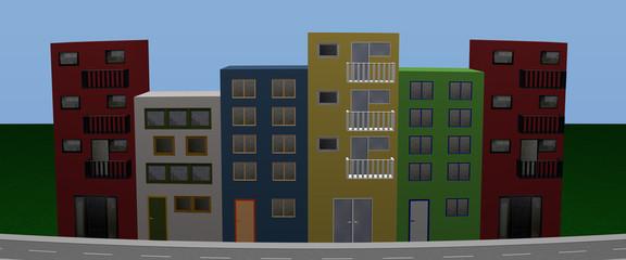 Häuserfront mit bunten Häusern. Panorama