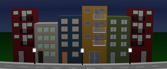 Häuserfront mit bunten Häusern, Straßenlaternen und Straße bei Nacht. Panorama