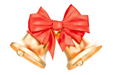Gold Christmas Bells With Red Bow, 3D rendering