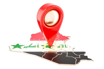 Map pointer on the map of Iraq, 3D rendering