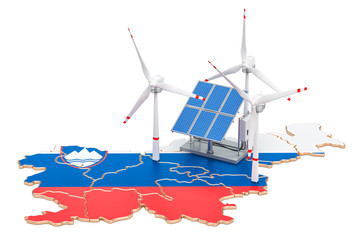 Renewable energy and sustainable development in Slovenia, concept. 3D rendering