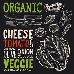 Organic menu poster for restaurant, food template.