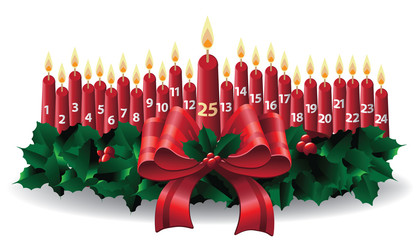 Christmas candles advent wreath calendar. EPS 10 vector illustration.