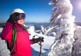 Happy woman on Mountains ski resort - nature and sport picture
