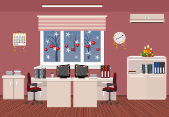 Holiday office room interior. Christmas design of working space with serpentine, candles, xmas balls.