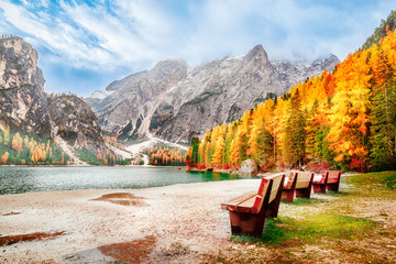 Lake Braies in Italy, South Tyrol area, original Italian name is Lago di Braies. National park Parco naturale di Fanes-Sennes-Braies. Beautiful autumn scenery. Popular and famous travel destination. Wall mural