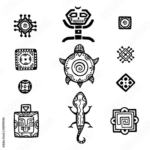Ancient Mexican Vector Mythology Symbols American Aztec Mayan