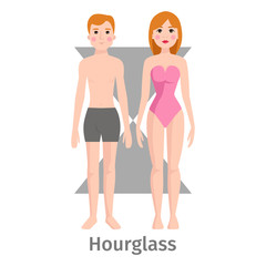 Vector illustration hourglass body shape types characters standing beauty figure cartoon model.