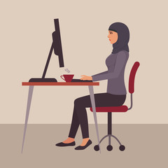 muslim woman at work, vector arab business character at desk in office using computer,  saudi cartoon businesswoman