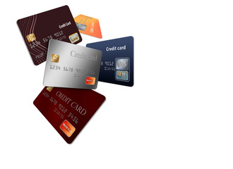 Credit cards, a number of them together illustrate the ideas of choosing the right card, or having too many credit cards. 3-D illustration.