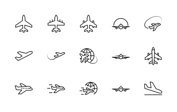 Set of plane vector line icon. It contains symbols to aircraft, globe and more. Editable move. 32x32 pixels.