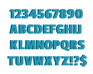 Blue 3d font, characters, alphabet, lettering. Design alphabet vector illustration of blue volume alphabet on white background