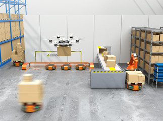 Stock Video of Drone delivery goods in modern warehouse