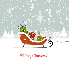 Christmas card, sledge with gifts for your design