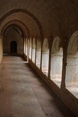 Arches gallery in a French Medieval Abbey