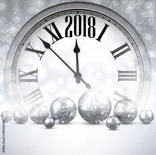 2018 New Year background with clock.\