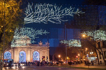 Christmas decorations in Madrid by night   . Fotomurales
