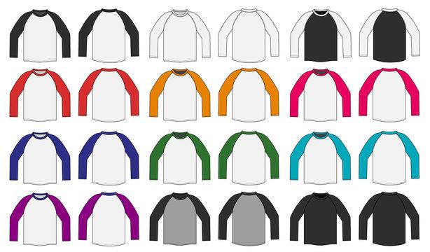 long sleeve ragran tshirt illustration / color variation