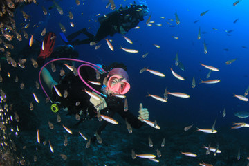 Young woman scuba diving