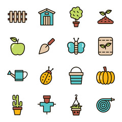 Gardening and agriculture icons, simple and thin line design. Gardening, planting and horticulture