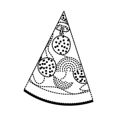 pizza slice in black dotted silhouette on white background