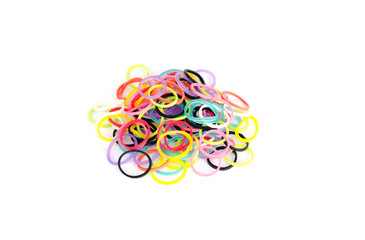multicolored rubber bands isolated on white background
