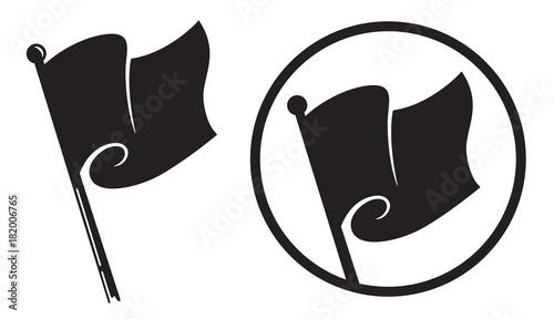 Black Flag Icons Vector Illustration Of Black Anarchy Flag On Pole